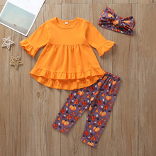 Brand New Halloween 2pcs set Newborn Baby Girl Orange Ruffle Dress Tops Pumpkin Print Pants Halloween Boutique Outfits Clothes цены онлайн