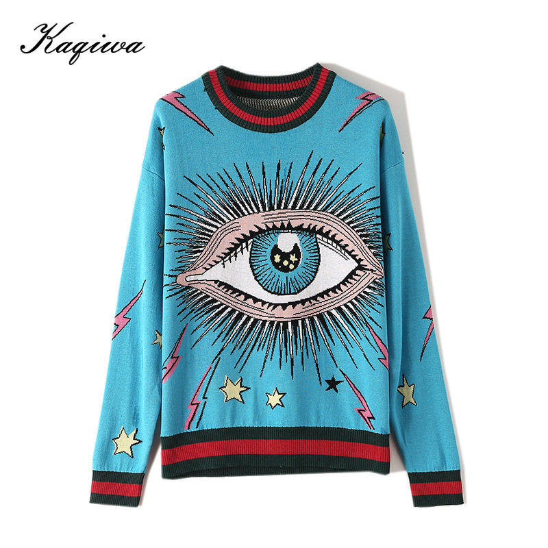 2020 Autumn Pullovers Full Sleeve High Quality England Style O-Neck Loose Sweater Eye Jacquard Weave Women Sweaters