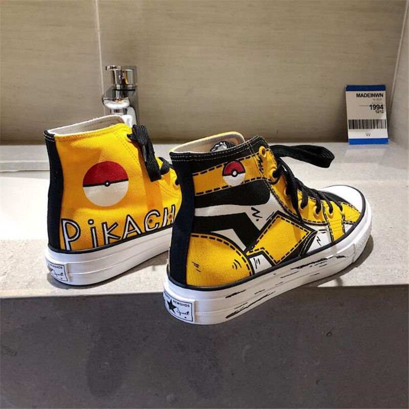 Anime Pikachu Pokemon Cartoon Plimsolls Cosplay Canvas Shoes Caricature Fashion Student Dunk High Black White Scrawl Board Shoes