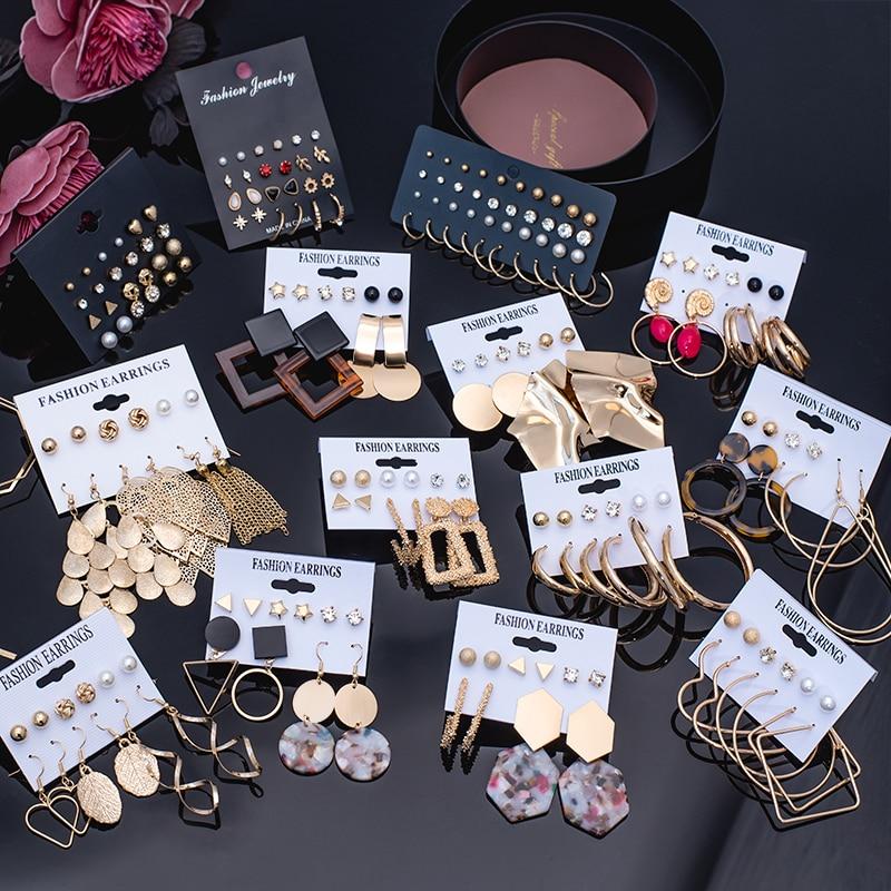 Women's Earrings Set Pearl Crystal Earrings For Women Vintage Boho Tassel Acrylic Earring Fashion Jewelry 2020 Geometric Earings
