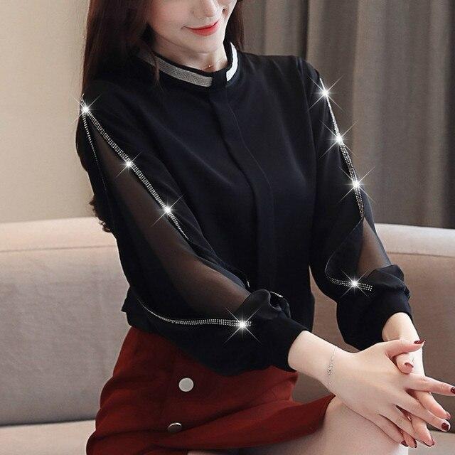 Women chiffon blouse New 2019 Fashion Casual Hollow out Chiffon shirt Elegant Slim Stand collar Women tops blouse 2
