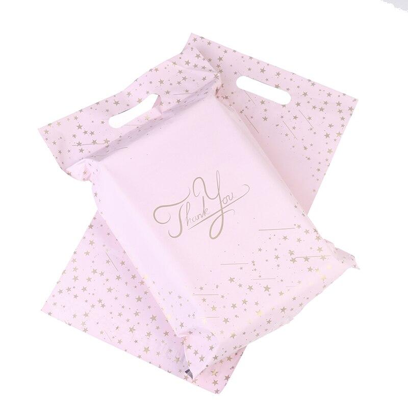 10 шт. 9,8x14,5 в розовом цвете спасибо крафт клейкая конверты спальные мешки курьерскую доставку Портативный Поли Мейлер