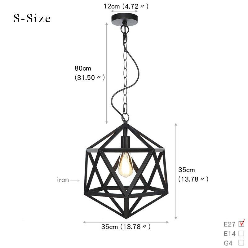 Mate negro hierro minimalismo cadena moderna colgar línea de luz colgante luz E27 Blub - 4