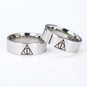 Кольцо Harri Hogwarts с символикой Дары смерти, кольцо на палец, Трендовое простое титановое металлическое ювелирное изделие, милые модные подарк...