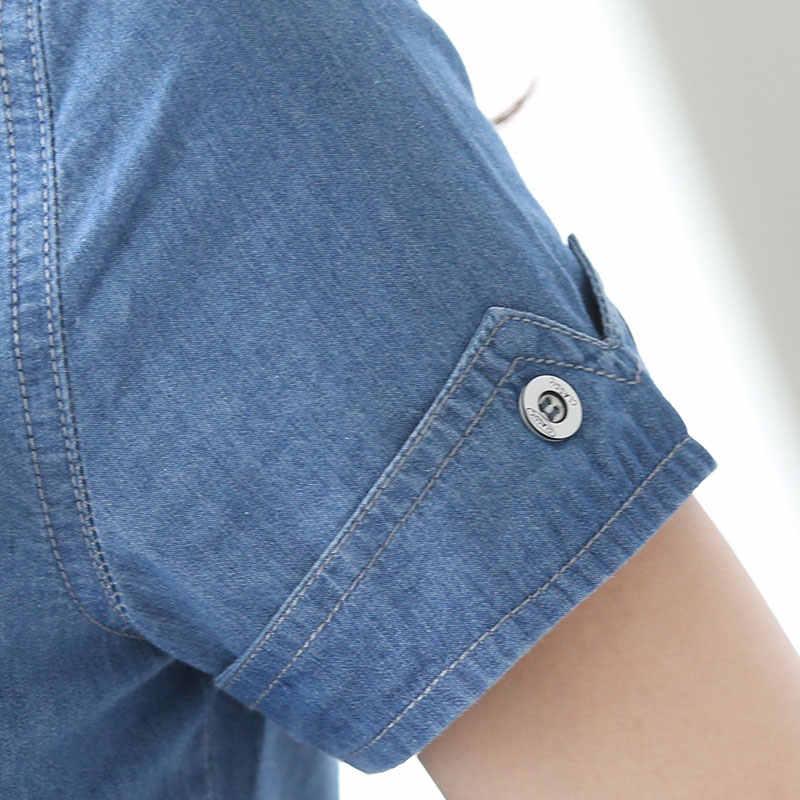 ルーズデニム女性ブラウス半袖デニムジャケットの女性はblusasヴィンテージデニムシャツ女性の綿カジュアル衣料 50B