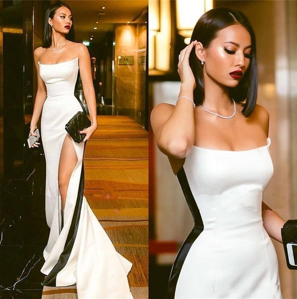 Vestidos De Festa Modest Black And White Evening Dresses 2019 Strapless High Side Split Sexy Satin Long Prom Party Formal Gowns