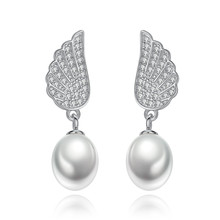 S925 Pure Silver Earrings Natural Freshwater Pearl Korean Edition Fresh Angel Wing for Women Classical Fine Jewelry