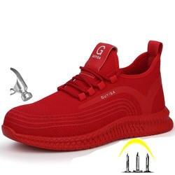 2019, большие размеры, Мужская Рабочая обувь со стальным носком и защитным колпачком, короткие ботинки, мужская обувь со стальной подошвой