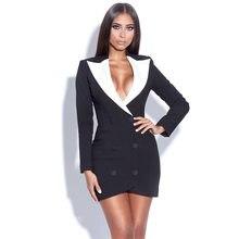 Mini robe Blazer noire pour femme, col en V, Sexy, manches longues, moulante, célébrité, tenue de soirée, boîte de nuit, nouvelle collection 2021