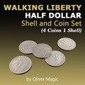 Walking Liberty набор с полудолларовой скорлупой и монетами (4 монеты 1 футляр) Оливер Магия закрыть магические фокусы