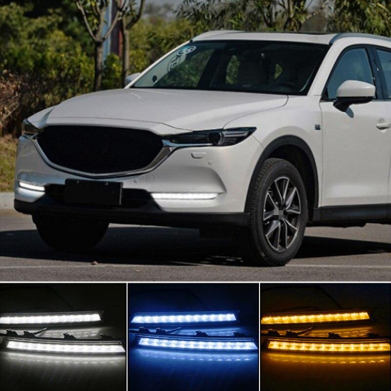 Светодиодный дневный ходовой светильник DRL 12 В, 2 шт., декоративная противотуманная фара для Mazda CX-5 CX5 2017 2018 2019, световой сигнал поворота