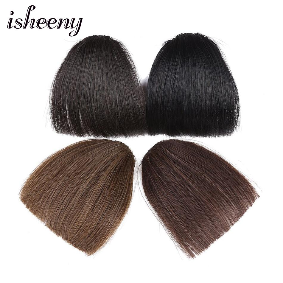 Isheeny Brazilian Stright Human Hair Bangs 15g Remy Fringe Clip In Bangs Hair Piece Upper Eyebrows For Women
