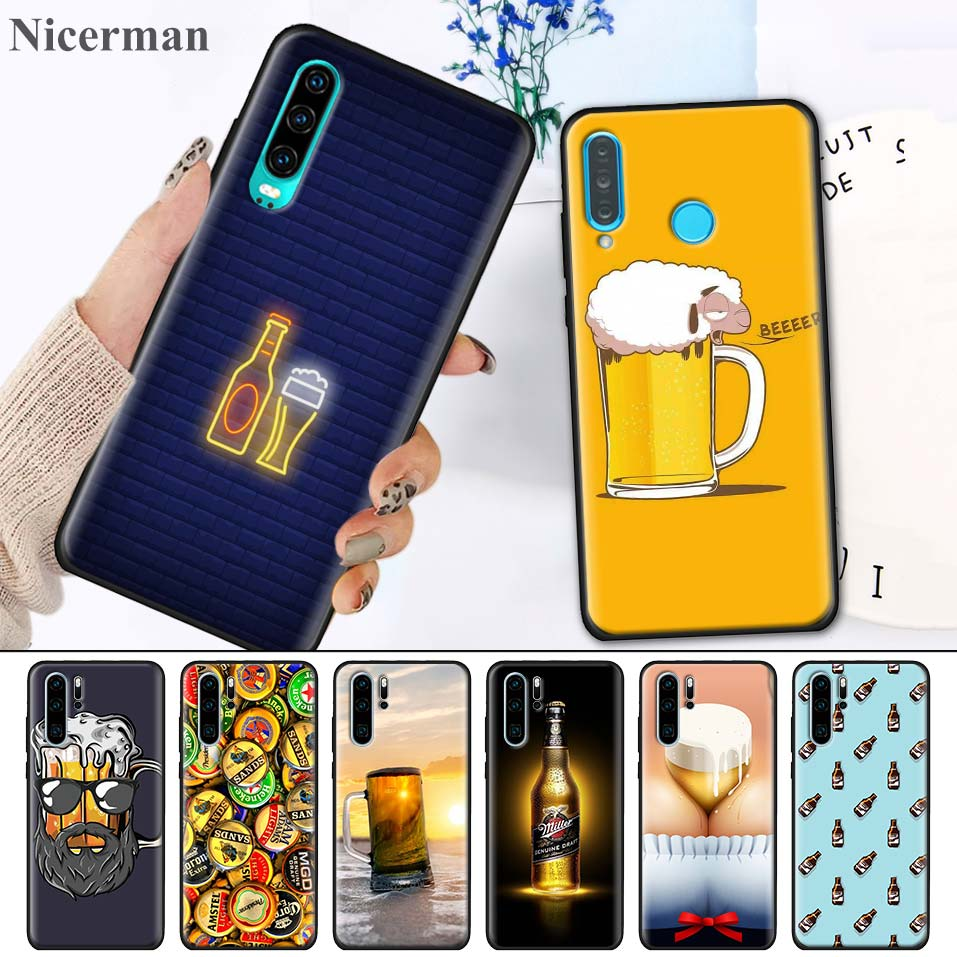 <font><b>Silicone</b></font> <font><b>Case</b></font> for <font><b>Huawei</b></font> Y5 <font><b>Y6</b></font> Y7 Y9 <font><b>2018</b></font> Y5 <font><b>Y6</b></font> Y7 Y9 2019 Nova 5i 5 5iPro 5T Back Shell Fundas Capa The Iced Glass Beer <font><b>Summer</b></font> image