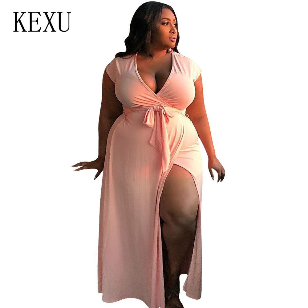 KEXU Vestidos Plus Size 4XL Summer High Split Dress Sexy Deep V-neck Lace Up Elegant Women Large Long Maxi Dresses