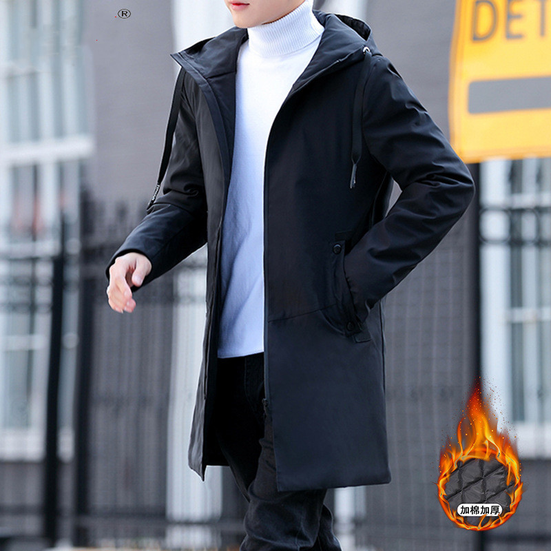 2019 Winter Jacket men hooded Slim Korean Parka Hombre long Jacket coat cashmere mens windbreaker Parkas cotton youth clothing|Parkas|   - AliExpress