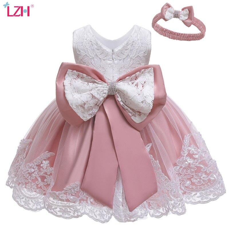 LZH/платье для маленьких девочек платье для новорожденных; Платья принцесс для праздников для девочек, детские 1st год платье на день рождения ...
