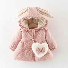 1 пальто+ 1 сумка, детское плотное теплое пальто в горошек с рюшами и заячьими ушками для маленьких девочек верхняя одежда, сумка для девочки