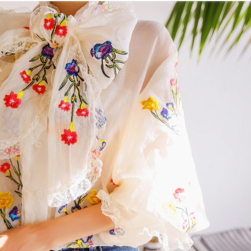 Women Blouse Luxury Embroidery Floral Blouses Long Lantern Sleeve Loose Casual Elegant Tops Ladies Sweety Big Bows Blouse NS858