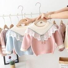 Осенне-зимний свитер для девочки ясельного возраста, детская одежда, детское кружевное платье принцессы с оборками и трикотаж, вязаный пуловер, топы, свитеры верхняя одежда S9791