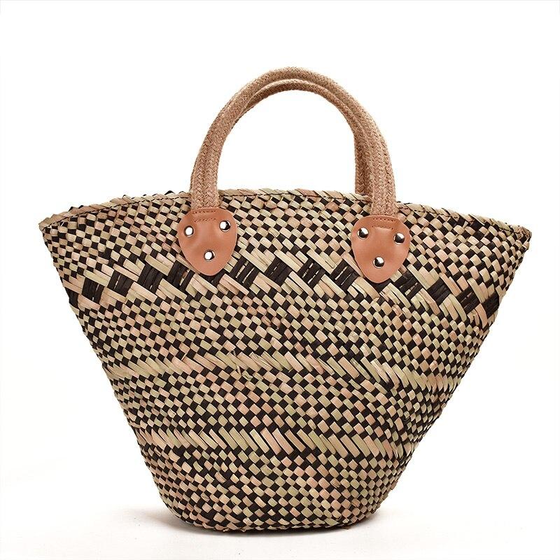 Skew Woven Straw Bag Retro Handmade Water Grass Straw Hand Bag Basket Straw Basket Shopping Bag