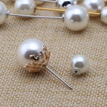 faux pearl cross shaped brooch HOT Anti-exposure One Pin Straight Pearl Brooch Pearl Brooch Accessories Pure Copper Pin Versatile Clothes Buckle Brooch