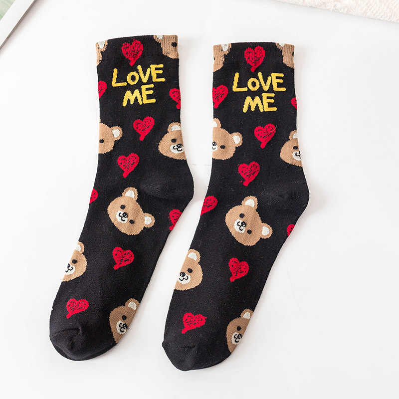 2020 Lente Nieuwe Vrouwen Gedrukt Sokken Leuke Cartoon Dier Hond Hart Brieven Inscriptie Zwarte Katoenen Grappige Sokken Voor Vrouwelijke