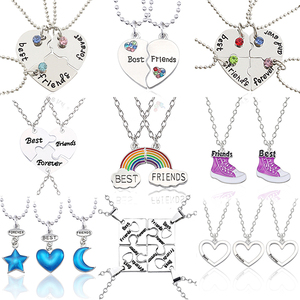Necklace Female Best Friend Pendant Mixed Style Puzzle Love Star Crown Alloy Metal Chain Student Friendship Jewelry Jewelry Gift