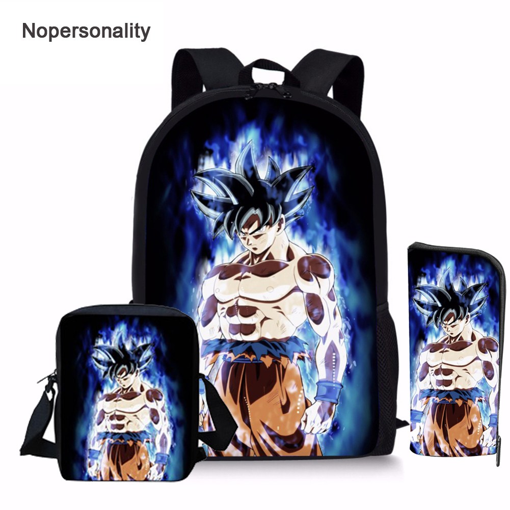 Nopersonality Cartoon Dragon Ball Z School Bag Set For Teens Boys Cool Kids Anime Schoolbags Primary Children Bookbag Custom
