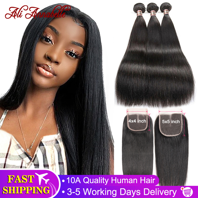 $ US $65.35 ALI ANNABELLE Straight Hair Bundles With Closure Remy Human Hair Bundles With Closure 30 32 34 36'' Brazilian Hair Weave Bundles