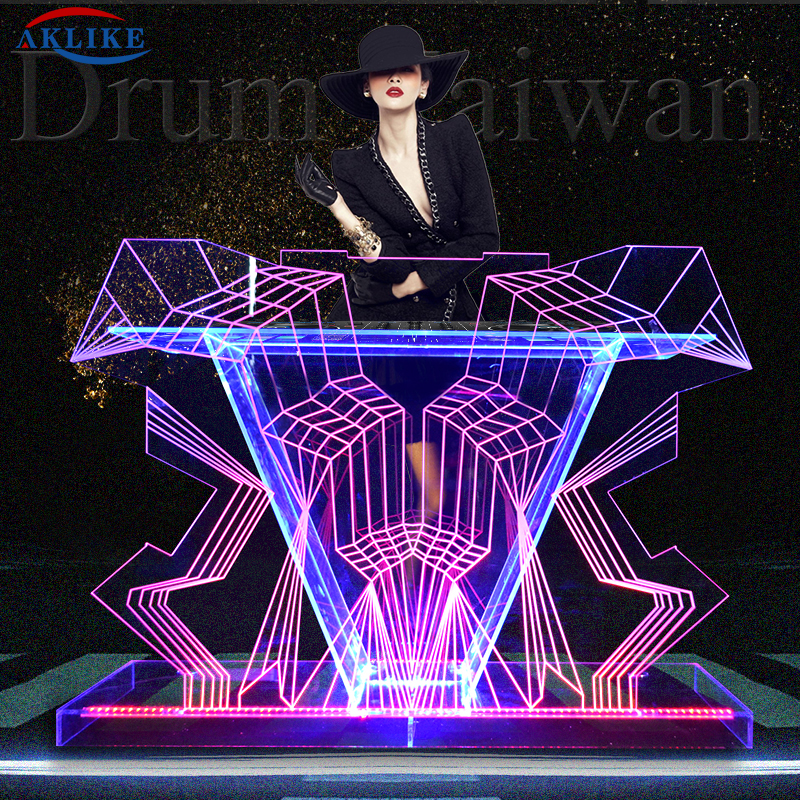 Acrylic Led Dj Table Bar Table AKLIKE Dj Light Mixer Controller Club Booth Night Stage Lighting Design Bar Furniture Manufacture