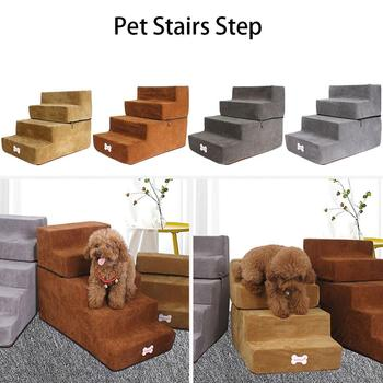 4 Steps Breathable Dog Stairs Portable Pet Stairs Removable Washable Pet Climbing Ladder Bed Cushion Mat