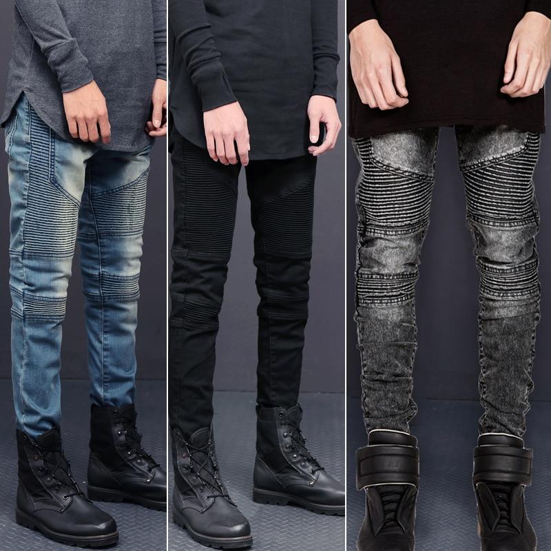Europe And America High Street Biker JEANS Men Elasticity Slim-Fit Pants Locomotive Jeans Trend Pleated Skinny Pants