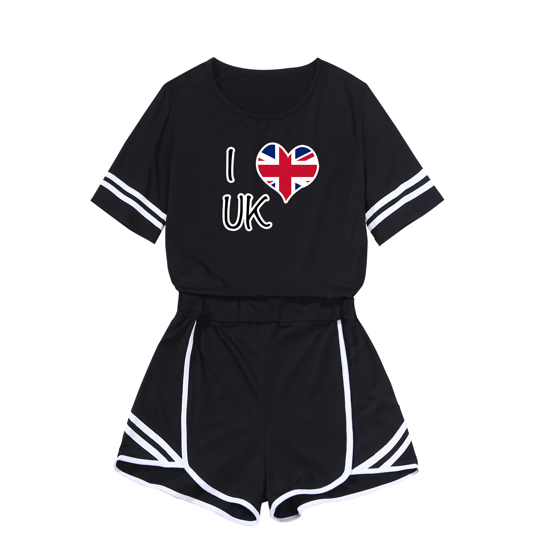 I LOVE Pattern WOMEN'S Dress Printed Short Skirt Fashion Leisure Suit Sports Set