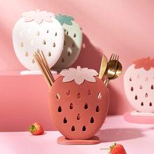Cute Strawberry Chopsticks Holder Drain Rack Kitchen Tableware Storage Rack Hollow Cutlery Drainer Spoon Fork Knife Shelf Holder