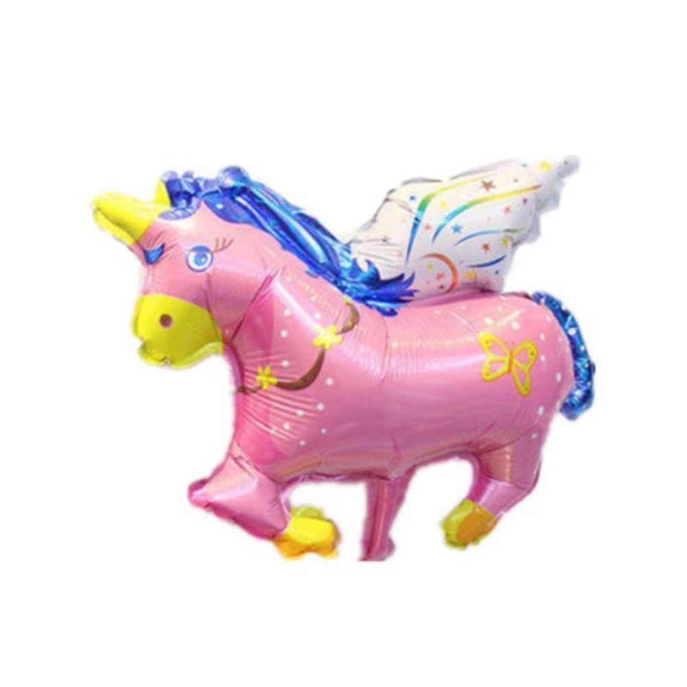 Mini ขนาดบอลลูนวันเกิดบอลลูนเค้ก Rainbow Unicorn บอลลูนเจ้าหญิง Balon บอลลูน Inflatable ของเล่น
