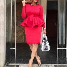 Женские однотонные красные платья с рюшами облегающее платье