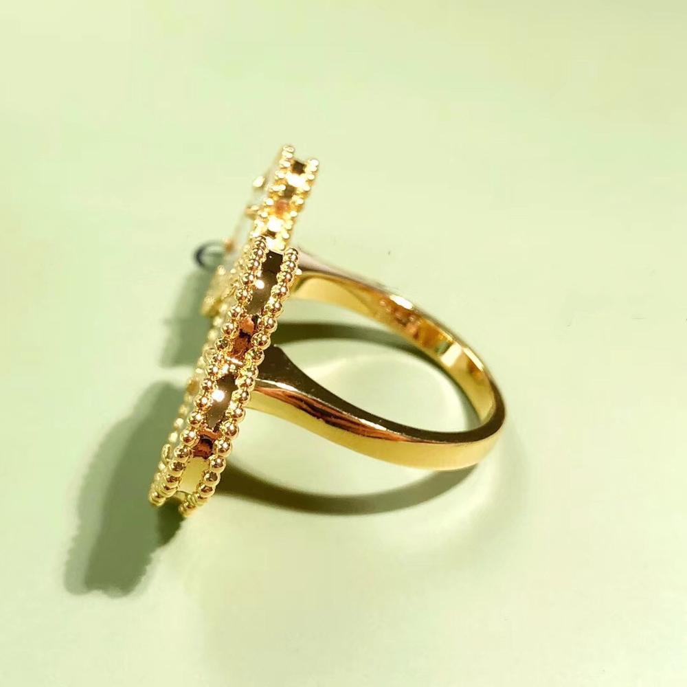 Élégant entre le doigt 2 anneaux de fleurs pour les femmes marque chaude en argent Sterling bague ensemble naturel véritable pierre de haute qualité Bijou cadeau - 2