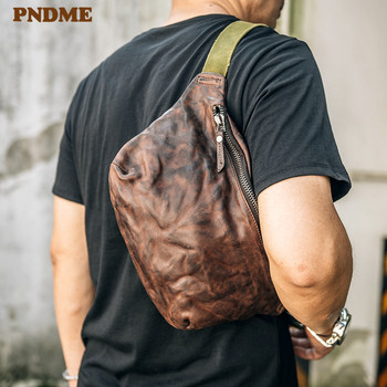 Retro genuine leather mens chest bag casual outdoor daily natural real cowhide multifunctional waist pack shoulder diagonal