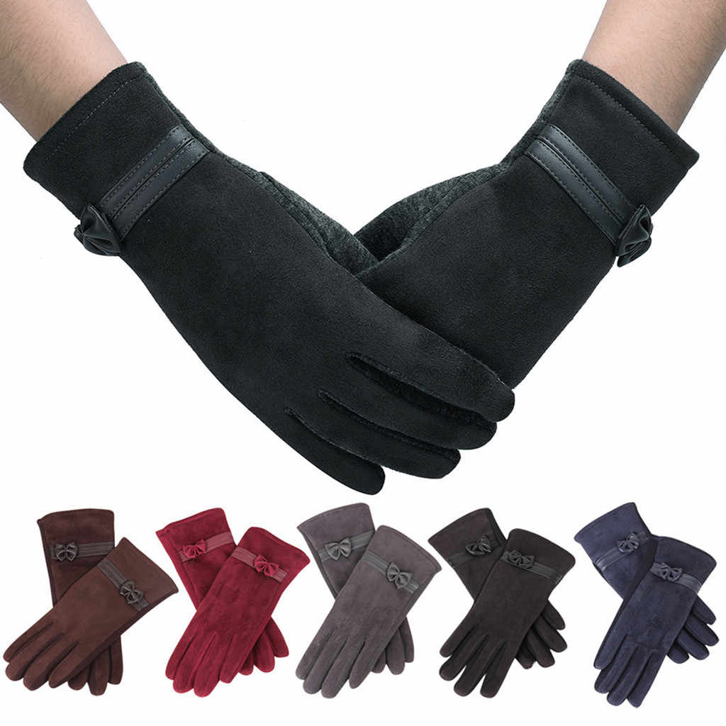 women Winter Gloves bow Full Finger Gloves warm Touch Screen Outdoor Sports Cycling Riding  Faux Fur Protective windproof guante