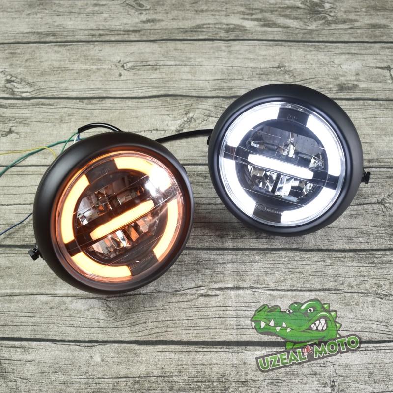 SR retro motorcycle modified universal 7 inch LED headlights metal round headlamp Driving light High beam, low beam