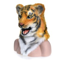 Fashion Innovative Cartoon Halloween Costume Theater Prop Novelty Fur Tiger LED Head Realistic Image Animal Mask Dress up Game A