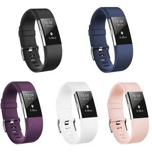 Image 3 - Honecumi correa de muñeca para Fitbit Charge 2, accesorio de reloj de TPU, correa de muñeca para Fitbit Charge 2, pulsera de oro Rosa/plata