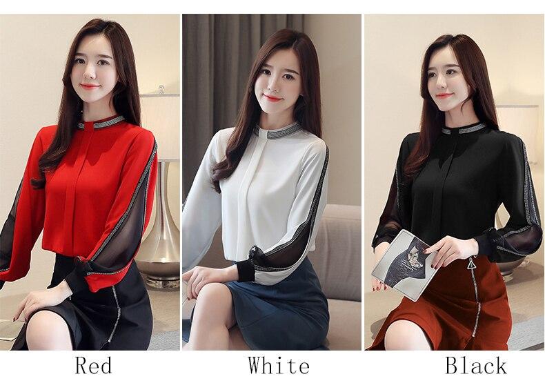 Chiffon Women Blouse Diamonds New 2020 Sexy Casual Hollow out Mesh korean Shirt Elegant Slim Stand Collar Women Tops blusa H34D