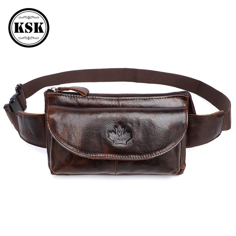 Men's Waist Bag Fanny Pack Genuine Leather Bag Money Belt Bags  Men Phone Belt Pouch Shoulder Bags For Men Travel Waist Pack KSK