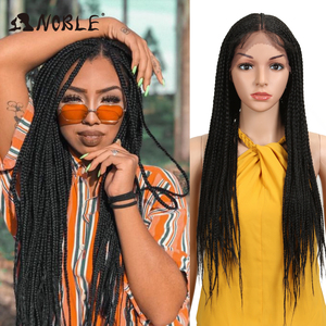 Noble Cosplay Braided Wigs 13X7 Lace Wig 34 Inch Wigs For Women Long Braided Box Braids Wigs for Women Synthetic Lace Front Wig(China)