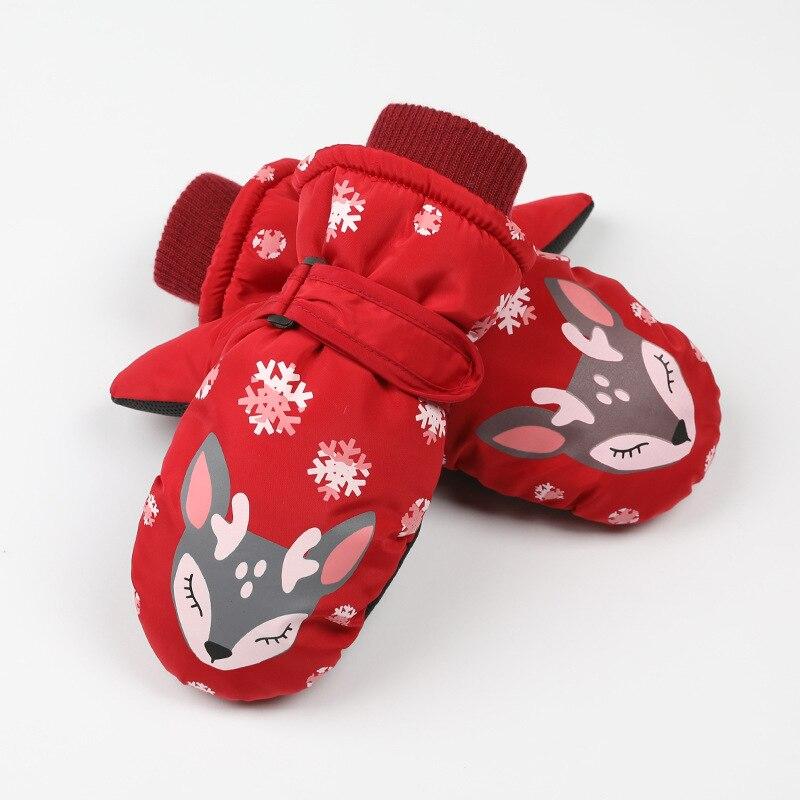Детские зимние теплые лыжные перчатки для мальчиков и девочек, спортивные водонепроницаемые ветрозащитные Нескользящие зимние варежки, расширенные запястья, перчатки для катания на лыжах, варежки - Цвет: Red