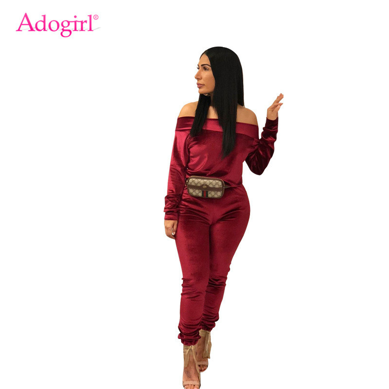 Adogirl Solid Velvet Two Piece Set Plus Size S-3XL Women Tracksuit Sexy Off Shoulder Long Sleeve Top Pencil Pants Female Suits