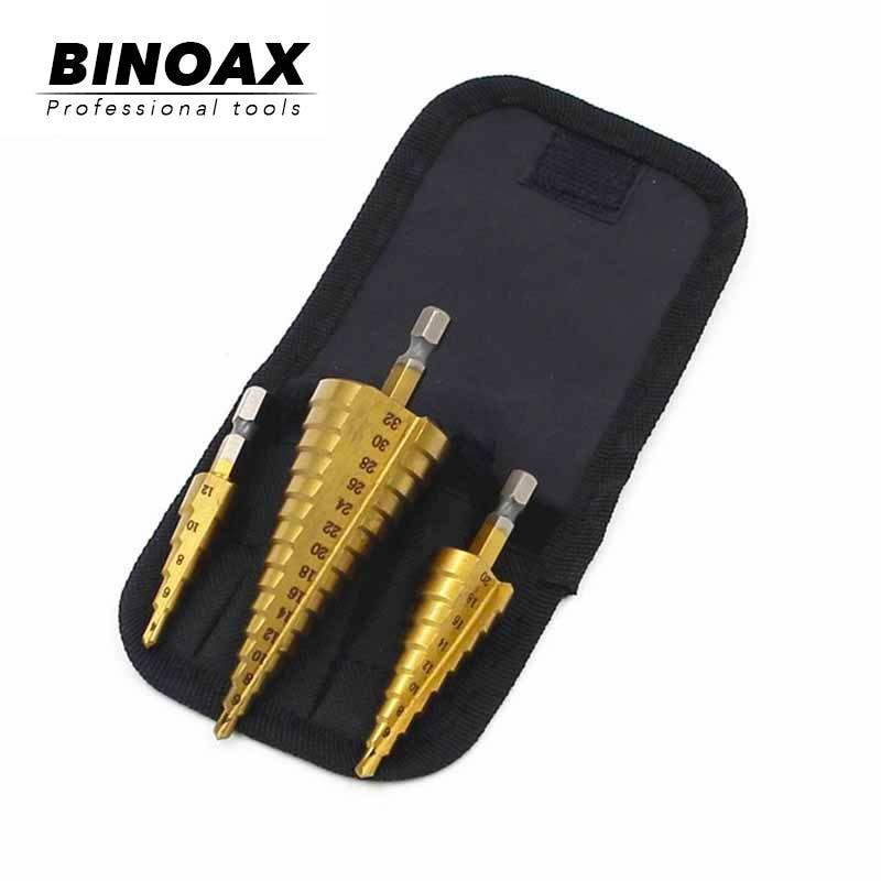 BINOAX 3Pcs/lot Metric Spiral Flute Step HSS Steel 4241 Cone Titanium Coated Drill Bits Tools Set Hole Cutter 4-12/20/32mm+Pouch