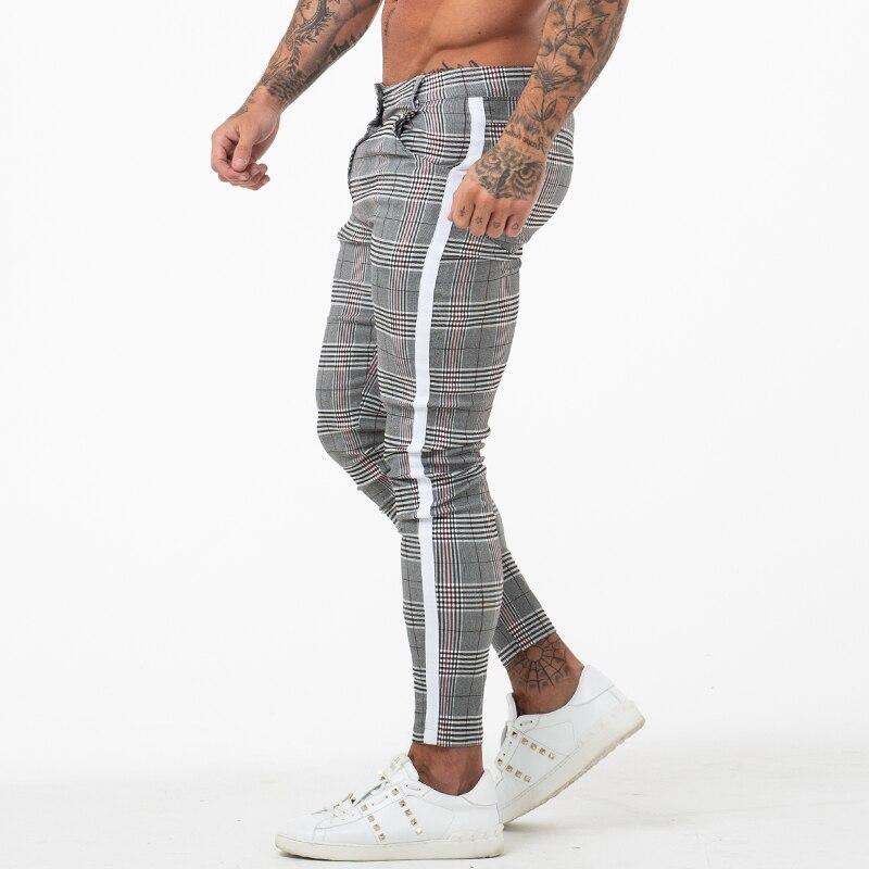 Mens Chinos Slim Fit 2019 Homens Calças Chino Skinny Super Comfy Estiramento Calças Para Homens Projeto da Manta Listra Lateral