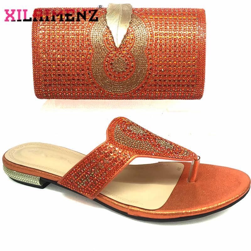 Colore arancione Specisal Disegno Africano Donne Shoeo e Borsa da Abbinare Ad Alta Qualità di Corrispondenza Scarpe e Borsa Set Più Recente per reale Del Partito